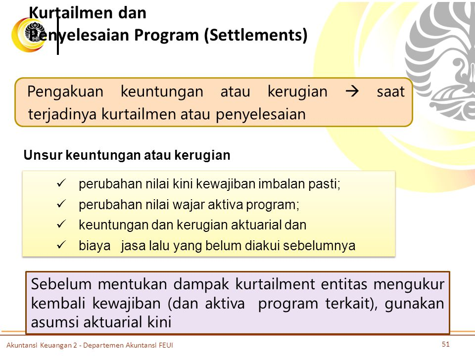 Kurtailmen dan Penyelesaian Program (Settlements)