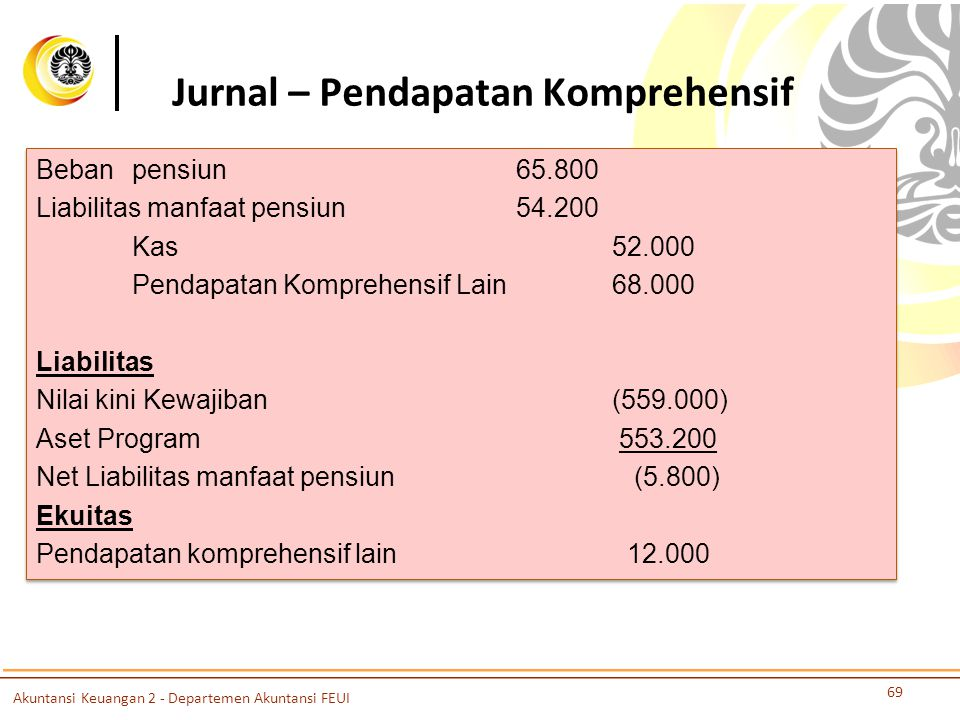 Jurnal – Pendapatan Komprehensif