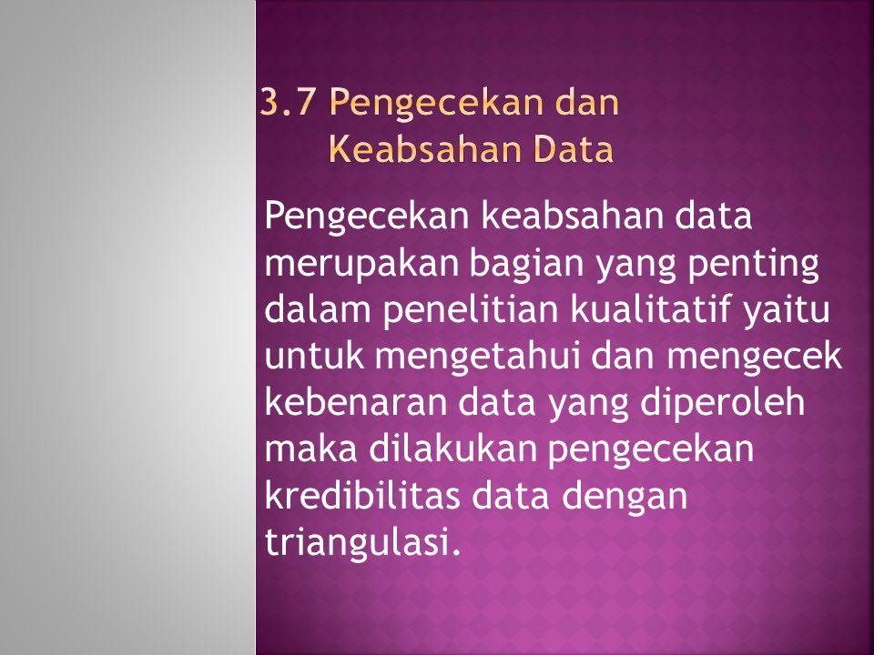 3.7 Pengecekan dan Keabsahan Data