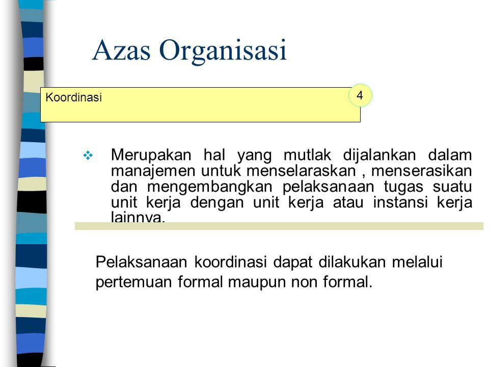 Azas Organisasi 4. Koordinasi.