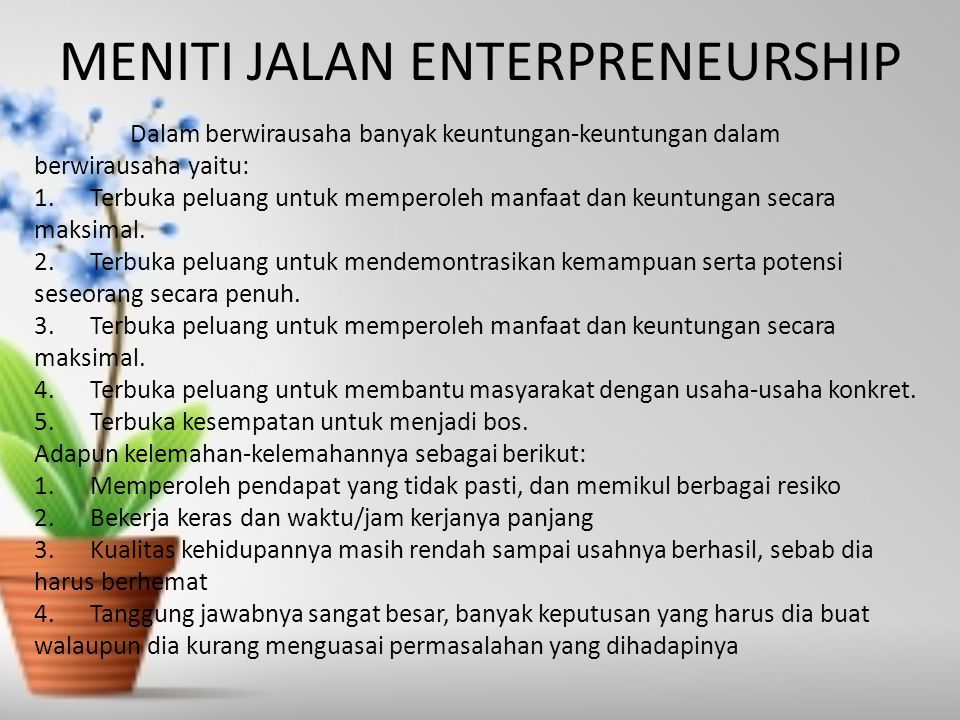 MENITI JALAN ENTERPRENEURSHIP