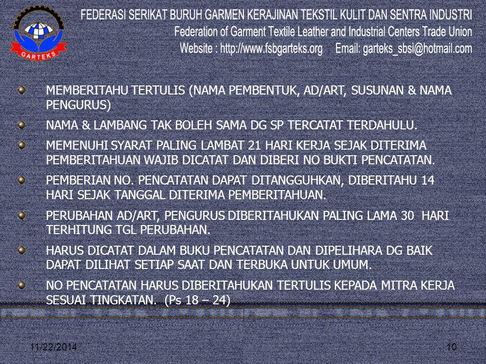 MEMBERITAHU TERTULIS (NAMA PEMBENTUK, AD/ART, SUSUNAN & NAMA PENGURUS)