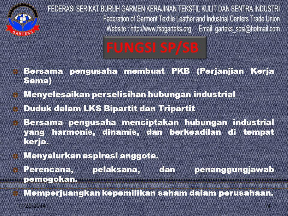 FUNGSI SP/SB Bersama pengusaha membuat PKB (Perjanjian Kerja Sama)