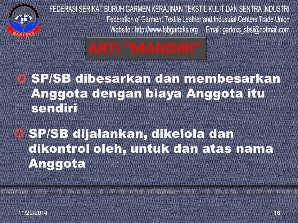 ARTI MANDIRI SP/SB dibesarkan dan membesarkan Anggota dengan biaya Anggota itu sendiri.