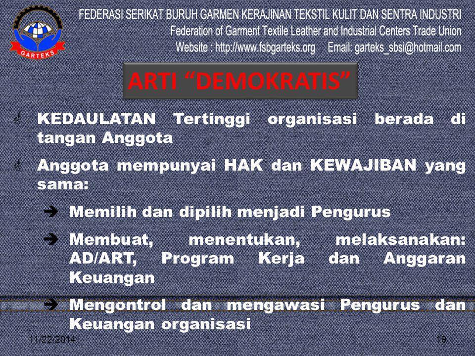 ARTI DEMOKRATIS KEDAULATAN Tertinggi organisasi berada di tangan Anggota. Anggota mempunyai HAK dan KEWAJIBAN yang sama: