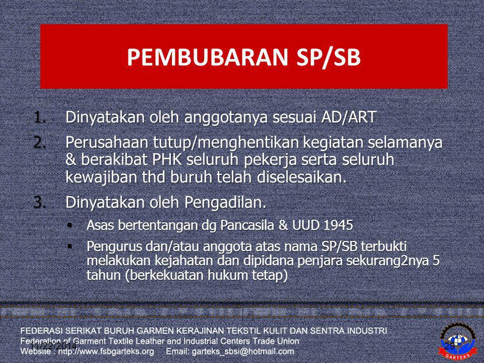 PEMBUBARAN SP/SB Dinyatakan oleh anggotanya sesuai AD/ART