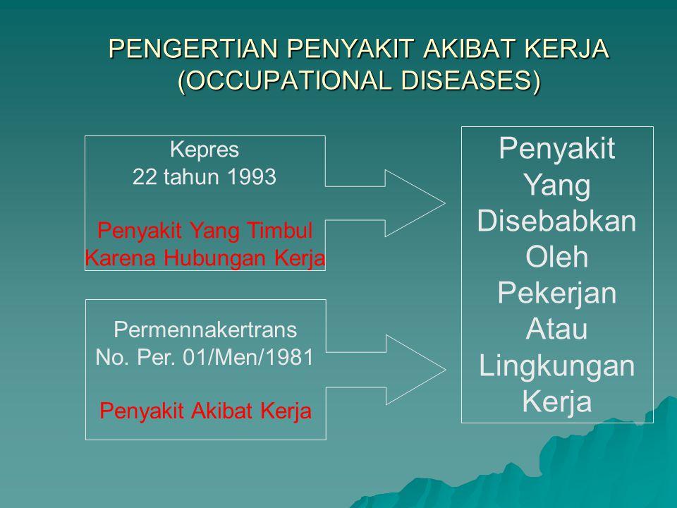 PENGERTIAN PENYAKIT AKIBAT KERJA (OCCUPATIONAL DISEASES)