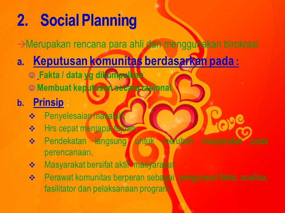 Social Planning Keputusan komunitas berdasarkan pada :