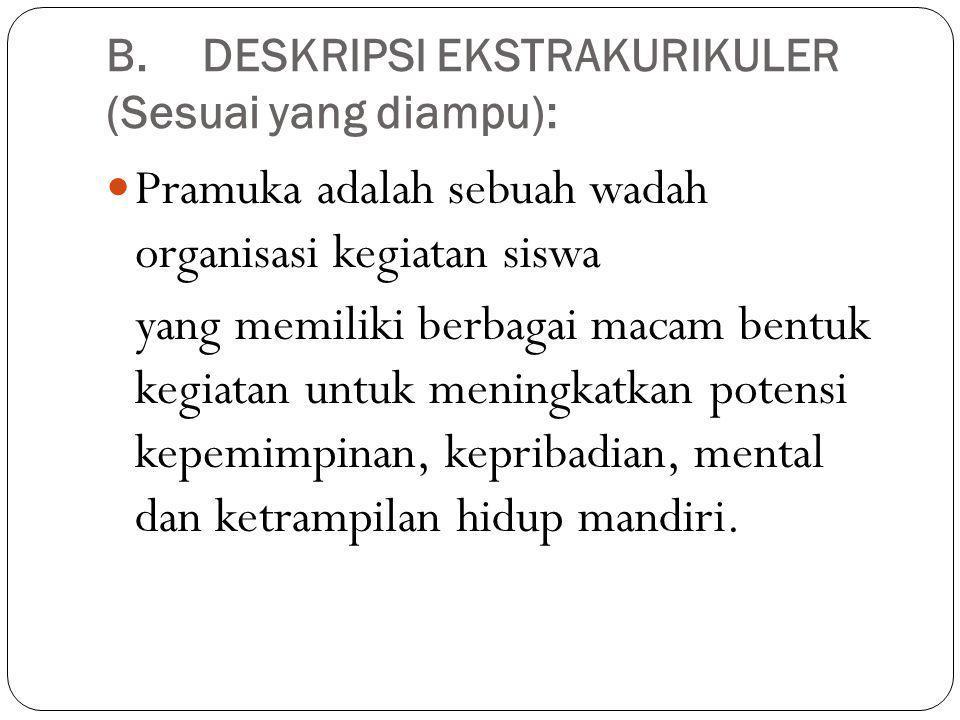 B. DESKRIPSI EKSTRAKURIKULER (Sesuai yang diampu):