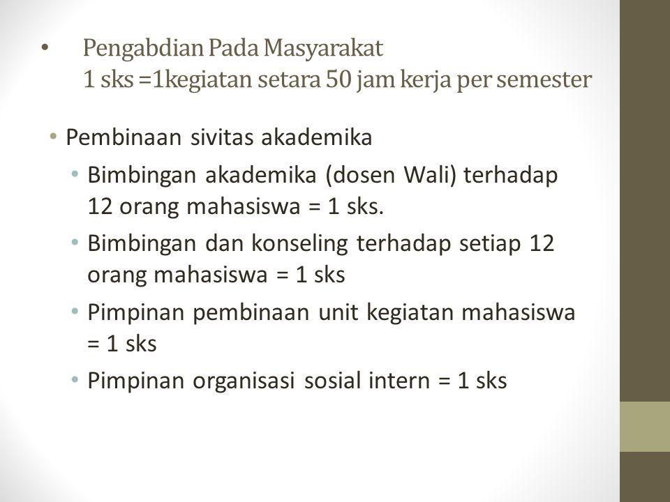 Pengabdian Pada Masyarakat 1 sks =1kegiatan setara 50 jam kerja per semester