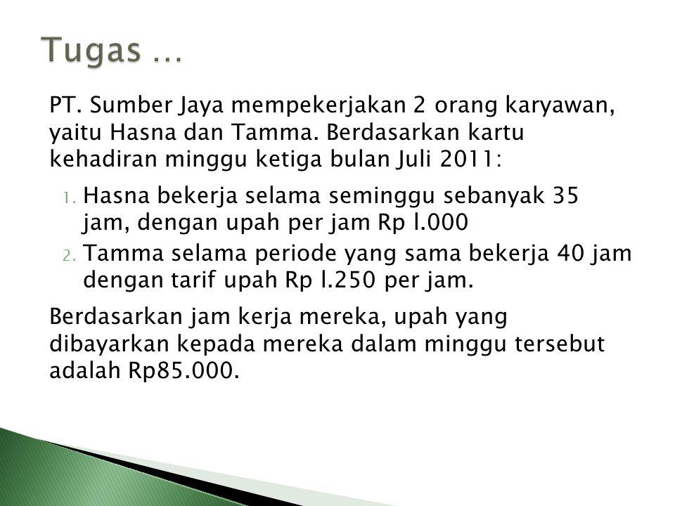 Tugas … PT. Sumber Jaya mempekerjakan 2 orang karyawan, yaitu Hasna dan Tamma. Berdasarkan kartu kehadiran minggu ketiga bulan Juli 2011: