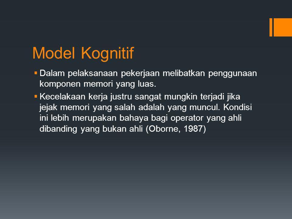 Model Kognitif Dalam pelaksanaan pekerjaan melibatkan penggunaan komponen memori yang luas.