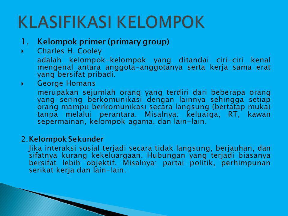 KLASIFIKASI KELOMPOK 1. Kelompok primer (primary group)