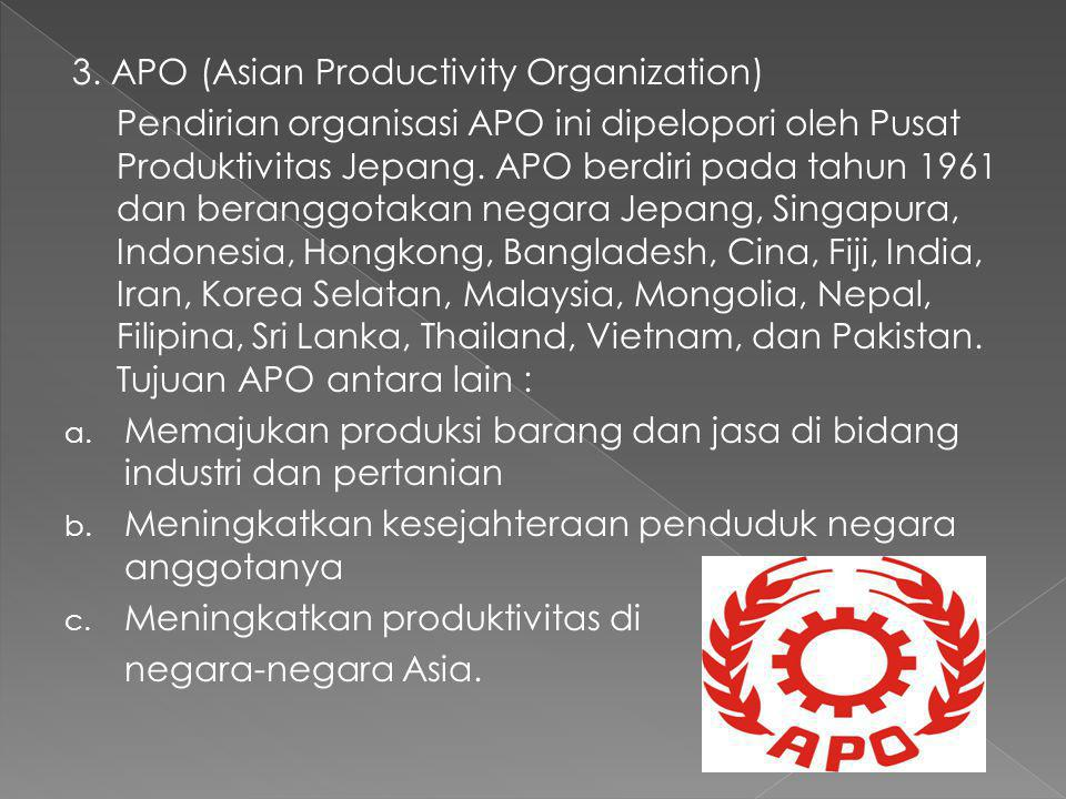 3. APO (Asian Productivity Organization)
