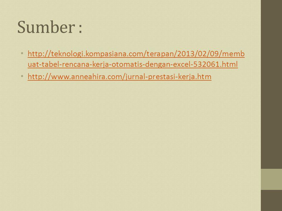 Sumber : http://teknologi.kompasiana.com/terapan/2013/02/09/membuat-tabel-rencana-kerja-otomatis-dengan-excel-532061.html.