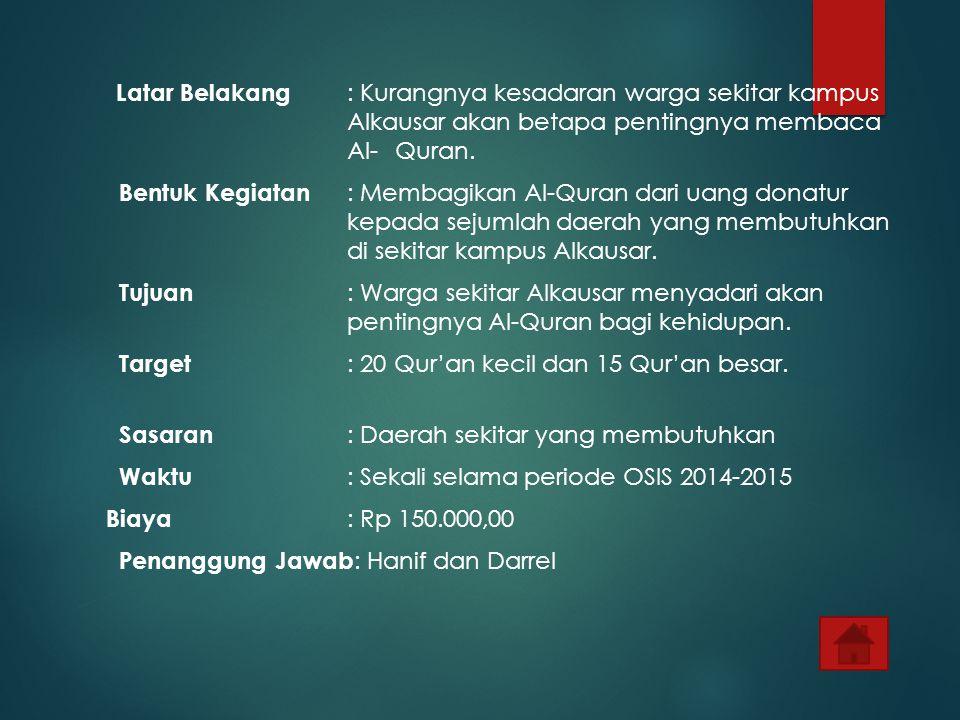 Target : 20 Qur'an kecil dan 15 Qur'an besar.
