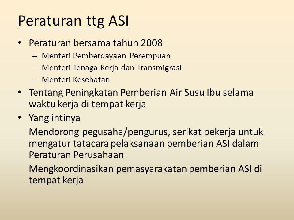 Peraturan ttg ASI Peraturan bersama tahun 2008