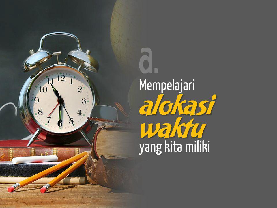 a. Mempelajari alokasi waktu yang kita miliki