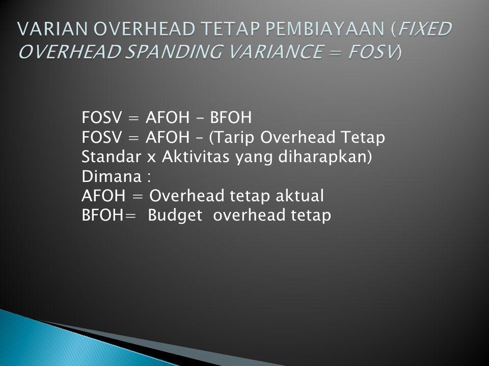 VARIAN OVERHEAD TETAP PEMBIAYAAN (FIXED OVERHEAD SPANDING VARIANCE = FOSV)