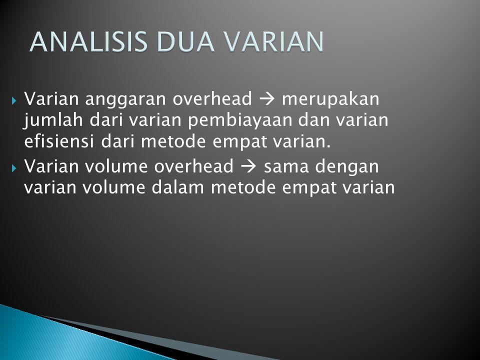 ANALISIS DUA VARIAN Varian anggaran overhead  merupakan jumlah dari varian pembiayaan dan varian efisiensi dari metode empat varian.