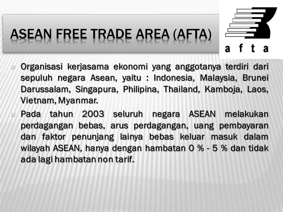 Asean Free Trade Area (AFTA)
