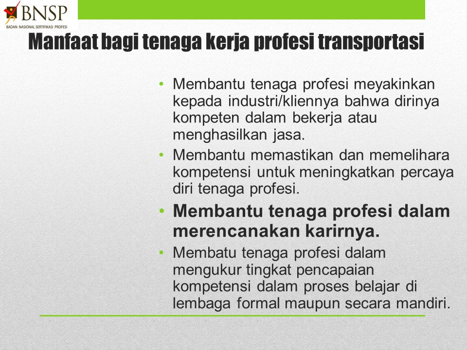 Manfaat bagi tenaga kerja profesi transportasi