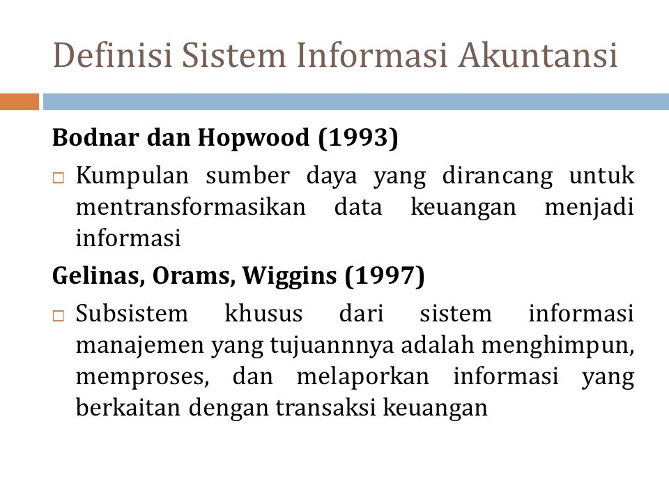 Definisi Sistem Informasi Akuntansi