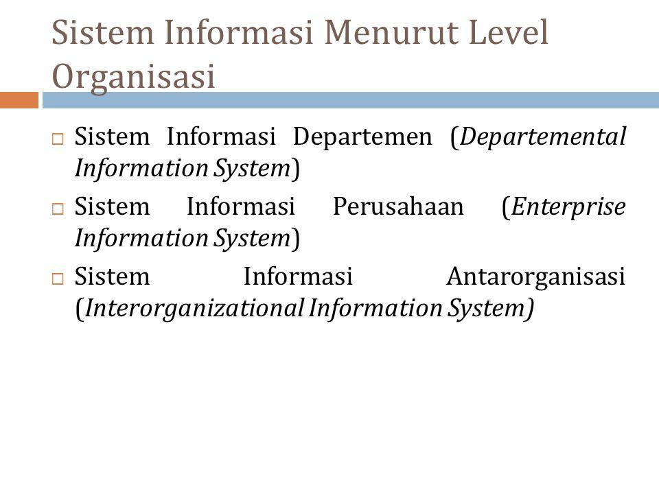 Sistem Informasi Menurut Level Organisasi