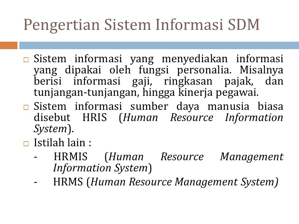 Pengertian Sistem Informasi SDM