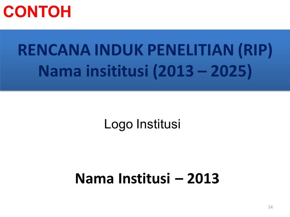 RENCANA INDUK PENELITIAN (RIP) Nama insititusi (2013 – 2025)