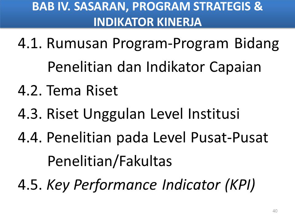 BAB IV. SASARAN, PROGRAM STRATEGIS & INDIKATOR KINERJA