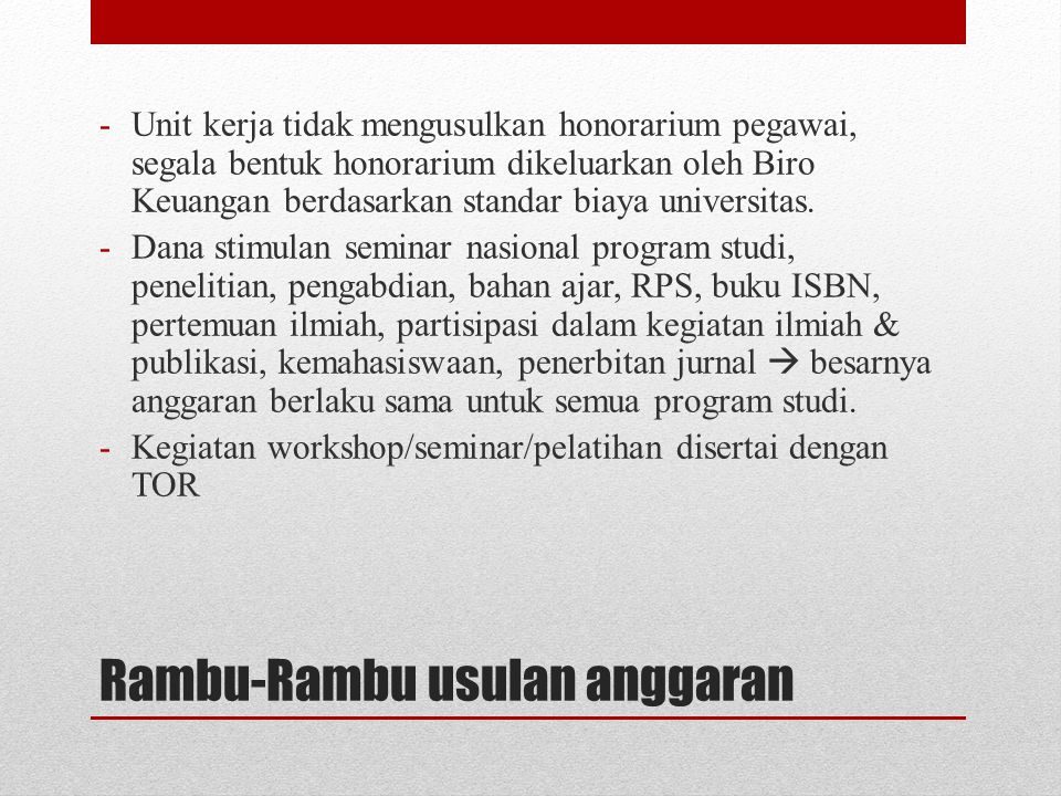 Rambu-Rambu usulan anggaran