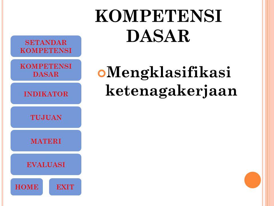 KOMPETENSI DASAR Mengklasifikasi ketenagakerjaan SETANDAR KOMPETENSI