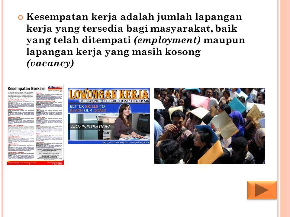 Kesempatan kerja adalah jumlah lapangan kerja yang tersedia bagi masyarakat, baik yang telah ditempati (employment) maupun lapangan kerja yang masih kosong (vacancy)