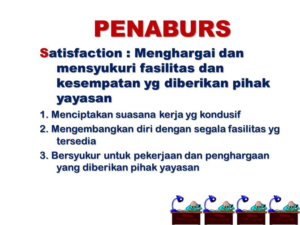 PENABURS Satisfaction : Menghargai dan mensyukuri fasilitas dan kesempatan yg diberikan pihak yayasan.