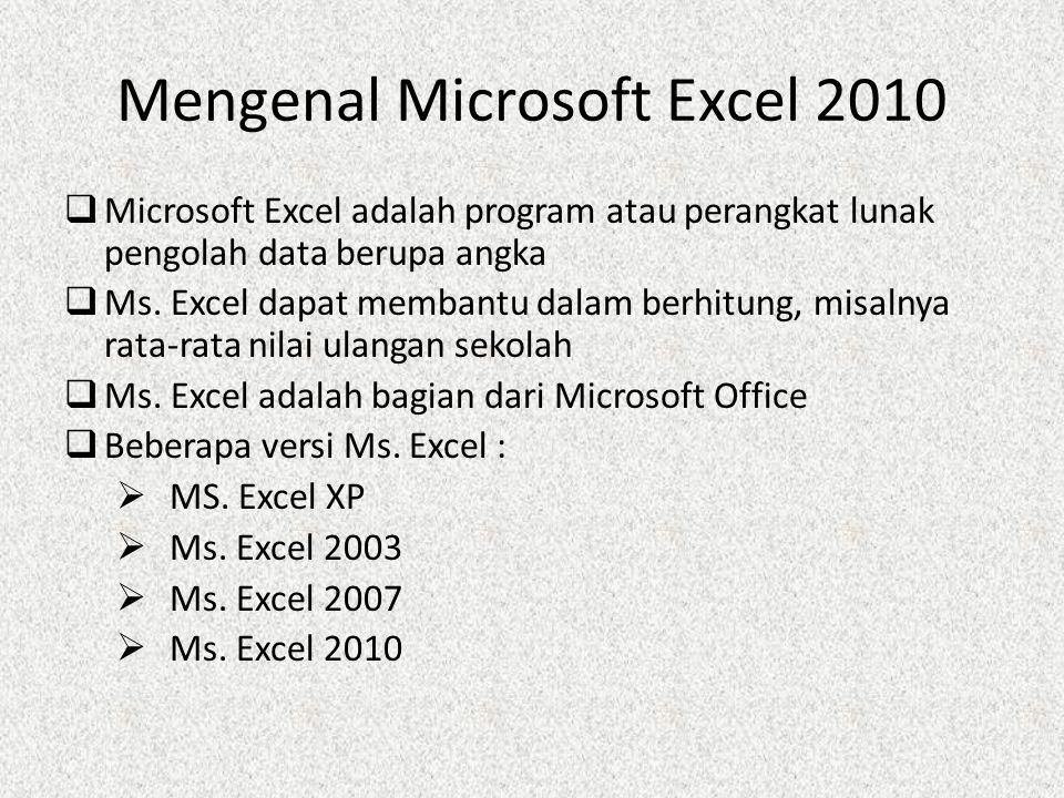 Mengenal Microsoft Excel 2010