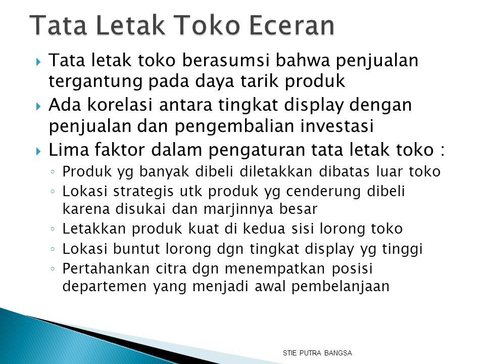 Tata Letak Toko Eceran Tata letak toko berasumsi bahwa penjualan tergantung pada daya tarik produk.