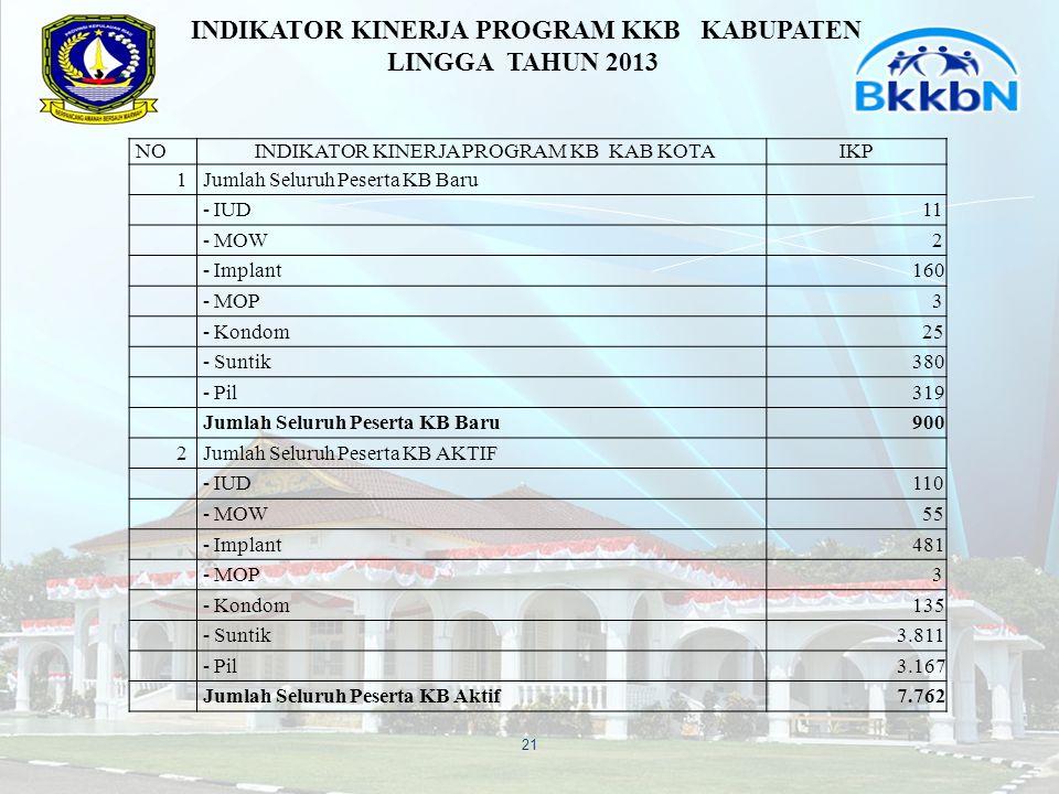INDIKATOR KINERJA PROGRAM KKB KABUPATEN LINGGA TAHUN 2013
