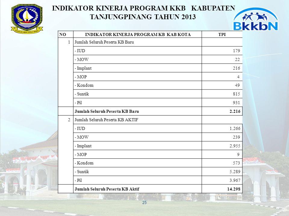 INDIKATOR KINERJA PROGRAM KKB KABUPATEN TANJUNGPINANG TAHUN 2013