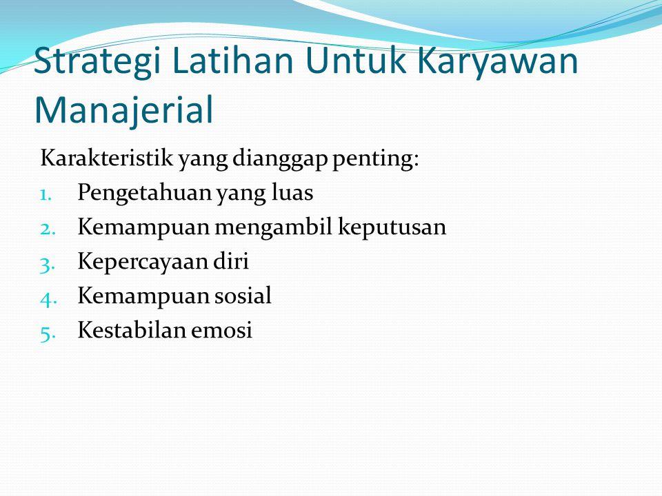 Strategi Latihan Untuk Karyawan Manajerial