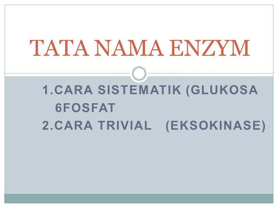1.CARA SISTEMATIK (GLUKOSA 6FOSFAT 2.CARA TRIVIAL (EKSOKINASE)