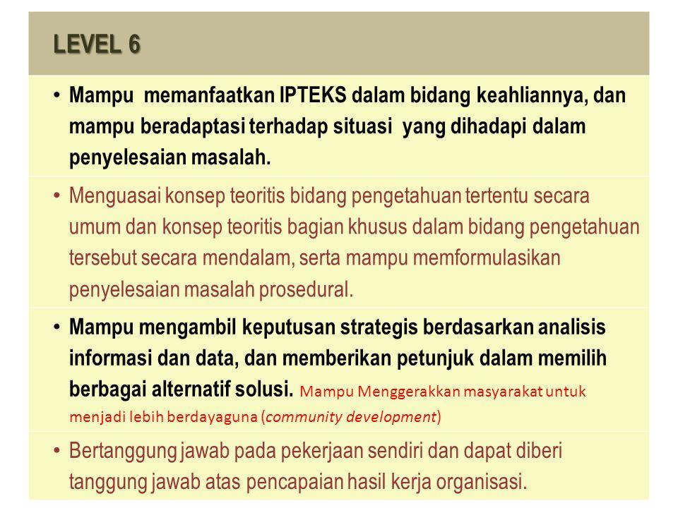 LEVEL 6 Mampu memanfaatkan IPTEKS dalam bidang keahliannya, dan mampu beradaptasi terhadap situasi yang dihadapi dalam penyelesaian masalah.