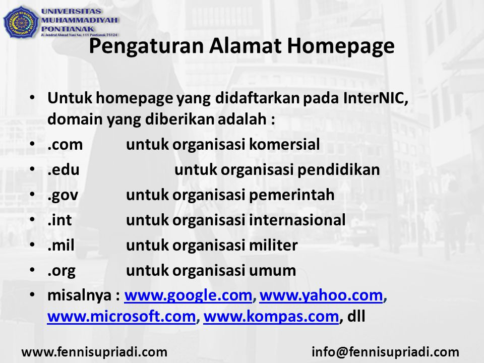 Pengaturan Alamat Homepage