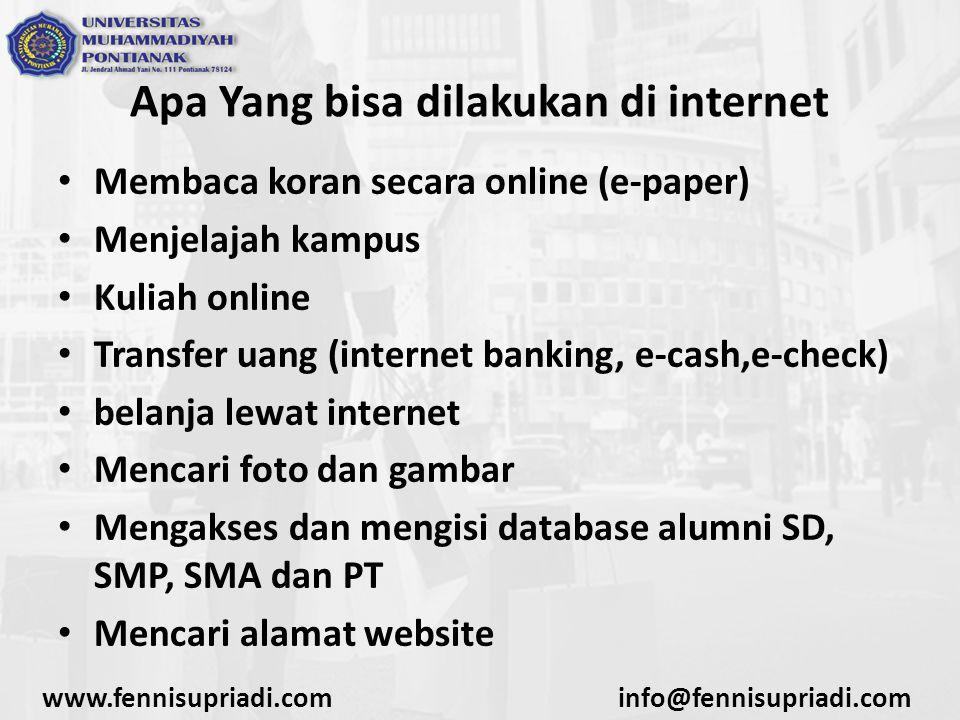 Apa Yang bisa dilakukan di internet