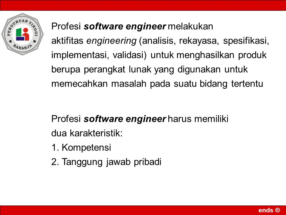 Profesi software engineer melakukan