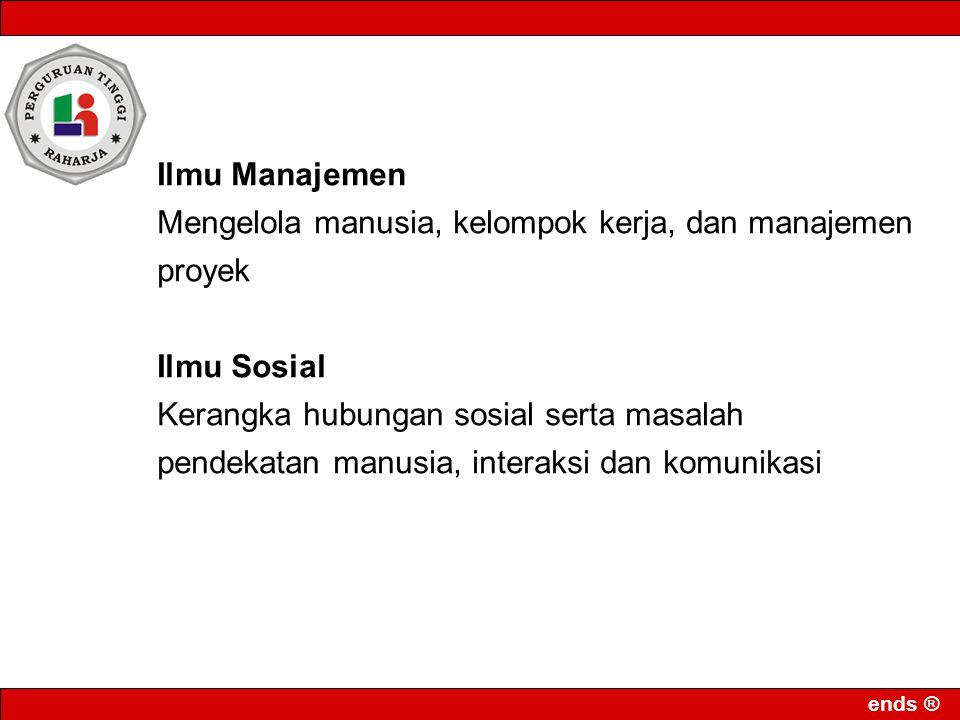 Ilmu Manajemen Mengelola manusia, kelompok kerja, dan manajemen proyek. Ilmu Sosial.