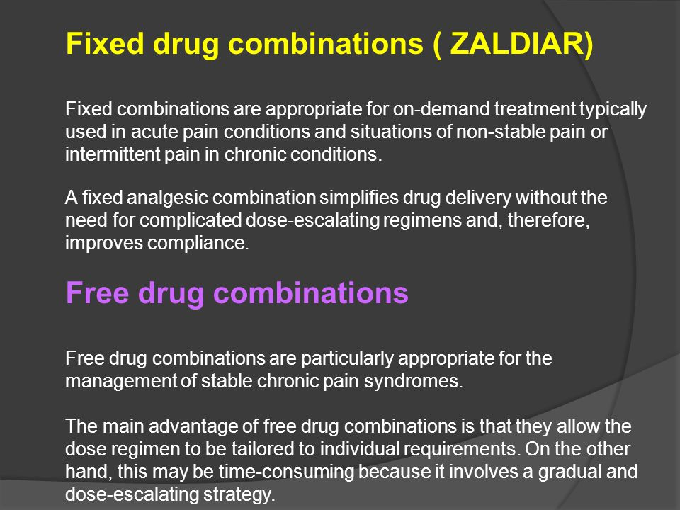 Fixed drug combinations ( ZALDIAR)