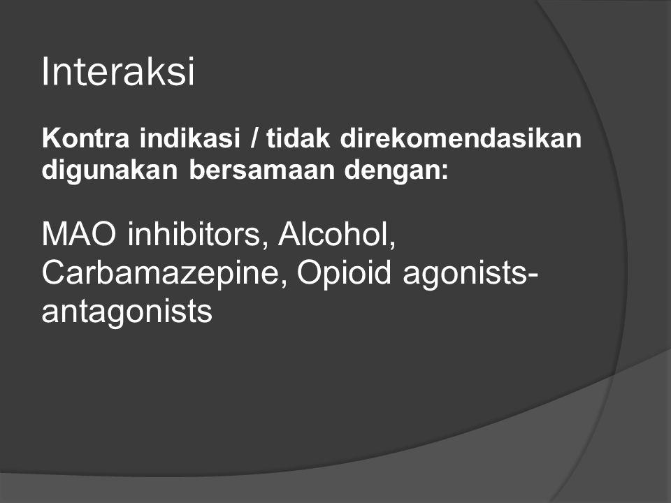 Interaksi Kontra indikasi / tidak direkomendasikan digunakan bersamaan dengan: MAO inhibitors, Alcohol, Carbamazepine, Opioid agonists-antagonists.