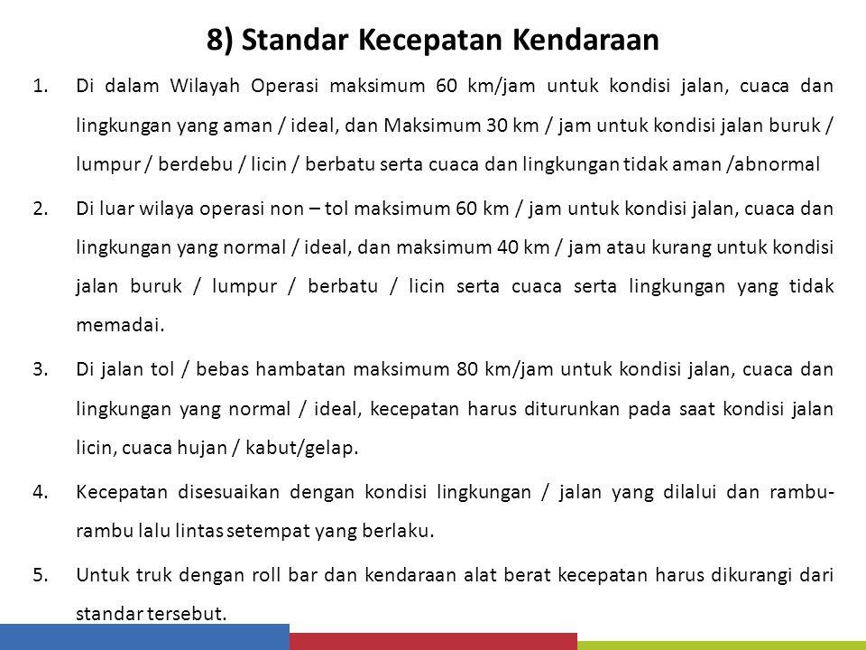 8) Standar Kecepatan Kendaraan