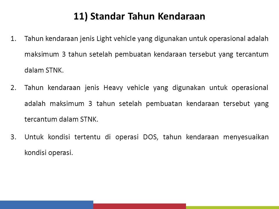 11) Standar Tahun Kendaraan